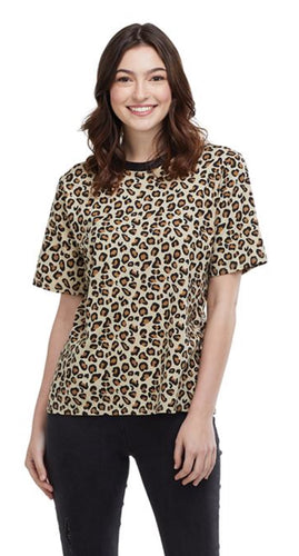OLLIE COTTON T-SHIRT IN LEOPARD