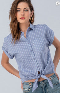 STRIPE FOLDED SLEEVE BUTTON DOWN SHIRT WITH KNOT FRONT
