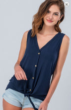 Load image into Gallery viewer, Jersey Button Down Knot Front Sleeveless Top