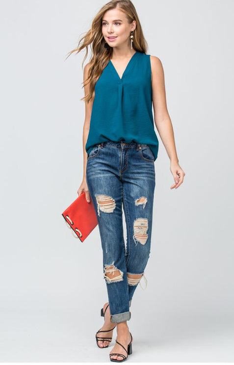 Sleeveless v-neck placket top