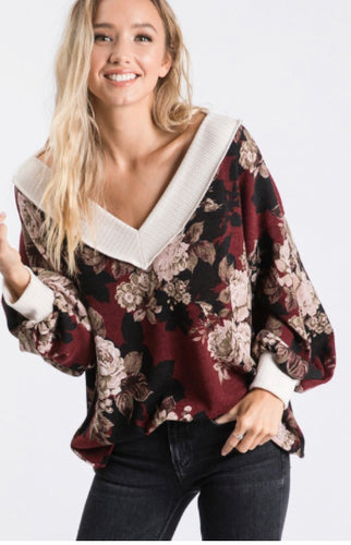 Floral deep v-neck drop shoulder sweater