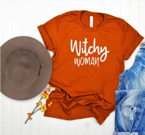 Witchy woman crew neck-Heather Orange