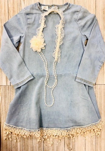 Light denim dress w/ lace trim