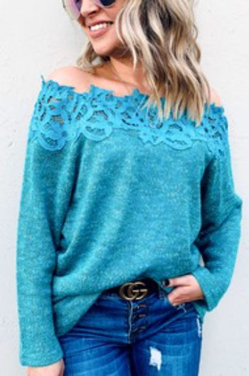 Laced Off Shoulder Soft Cozy Warm Knit Sweater