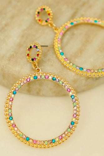 Multi color circle rhinestone hoops