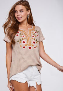 Taupe embroidered top