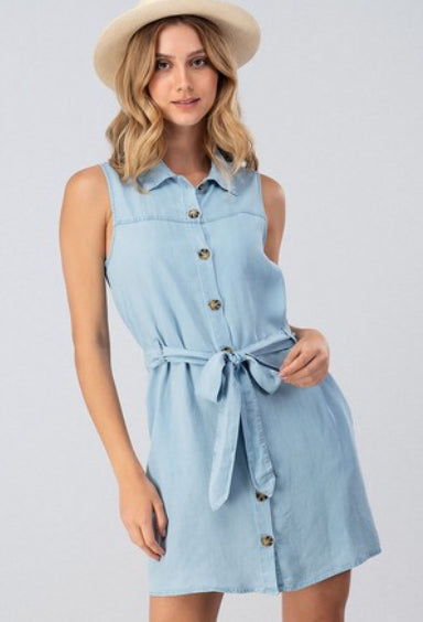 CHAMBRAY DENIM BUTTON DOWN SLEEVELESS SHIRT DRESS W RIBBON BELT