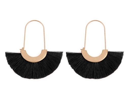 FRINGED FAN SHAPE EARRINGS