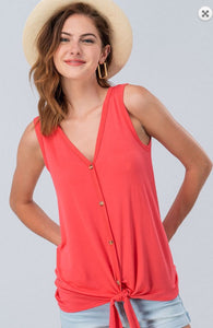 Jersey Button Down Knot Front Sleeveless Top