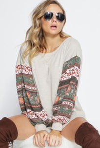 THERMAL WAFFLE KNIT TOP WITH BOHO PRINT CREPON BALLOON SLEEVES