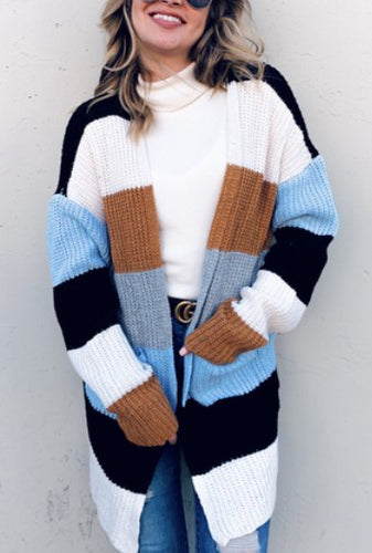 Color Block Cozy Sweater Cardigan
