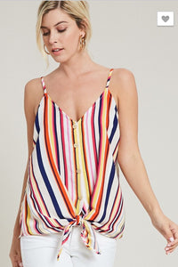 This camisole top is featuring color full striped pattern and button down with front self-ti