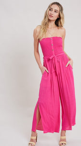 SMOCK BUTTON SLIT JUMPSUIT