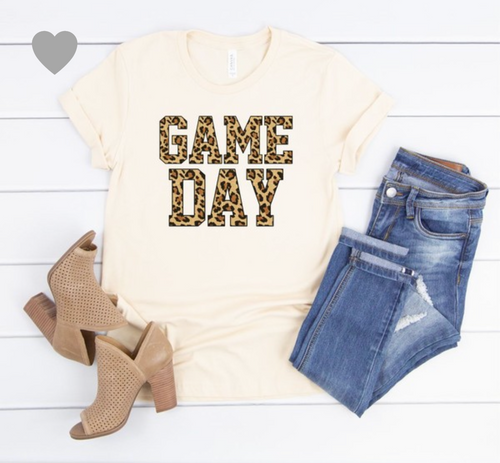 LEOPARD GAME DAY GRAPHIC CREW NECK - CREAM