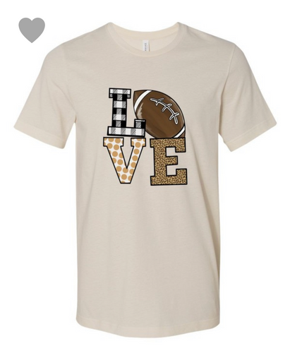 LOVE FOOTBALL W/ LEOPARD GRAPHIC - CREAM
