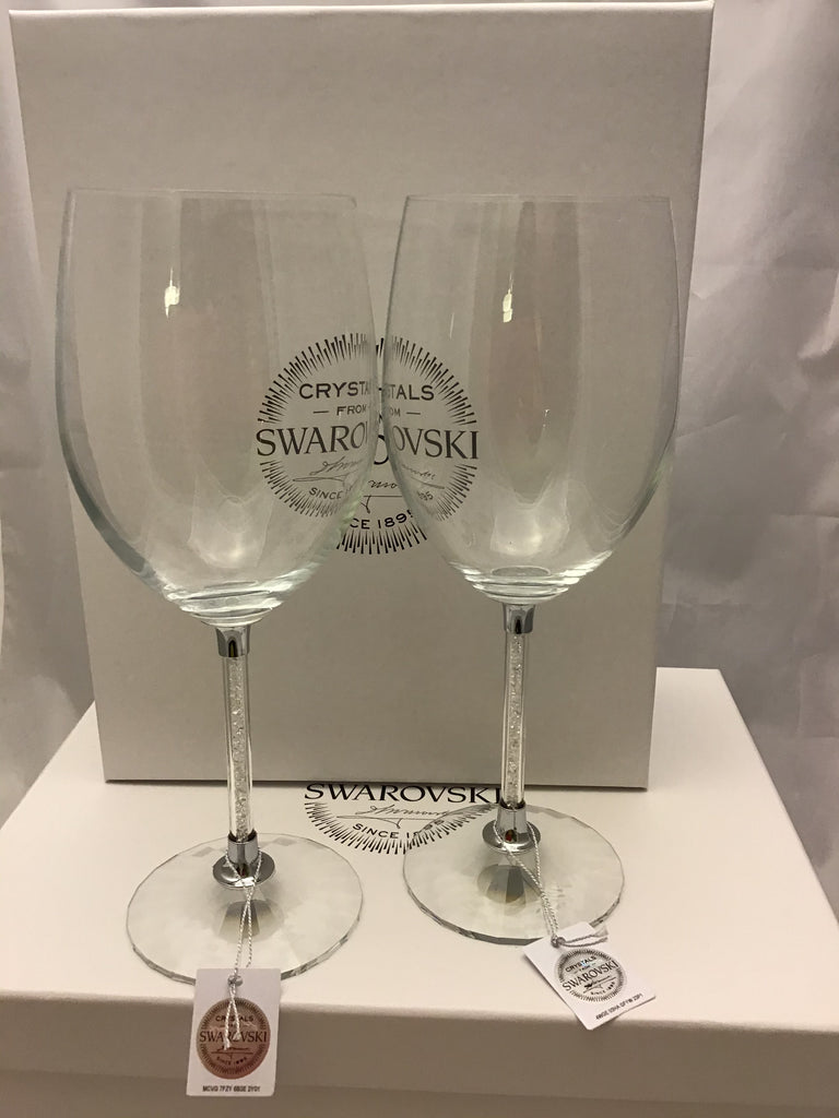 Wine glasses set with Swarovski crystals