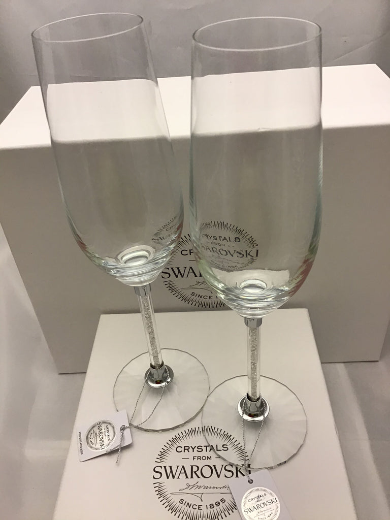 Champagne glasses set with Swarovski crystals