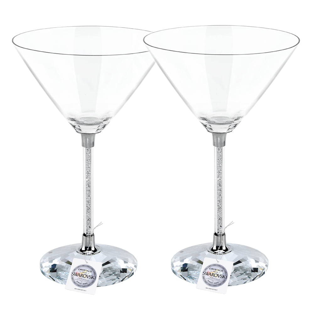 Martini glasses set with Swarovski Crystals