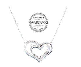 Crystal Heart in Heart Necklace