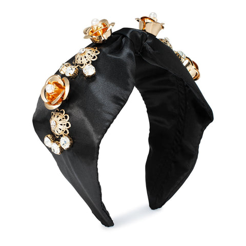 black-headband-satin-gold-embellishments-johnny-loves-rosie-accessories