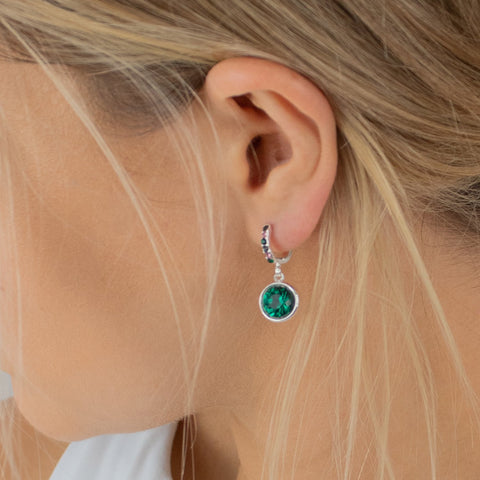 emerald-earrings-huggies-circle-diamante-elsie-johnny-loves-rosie-accessories