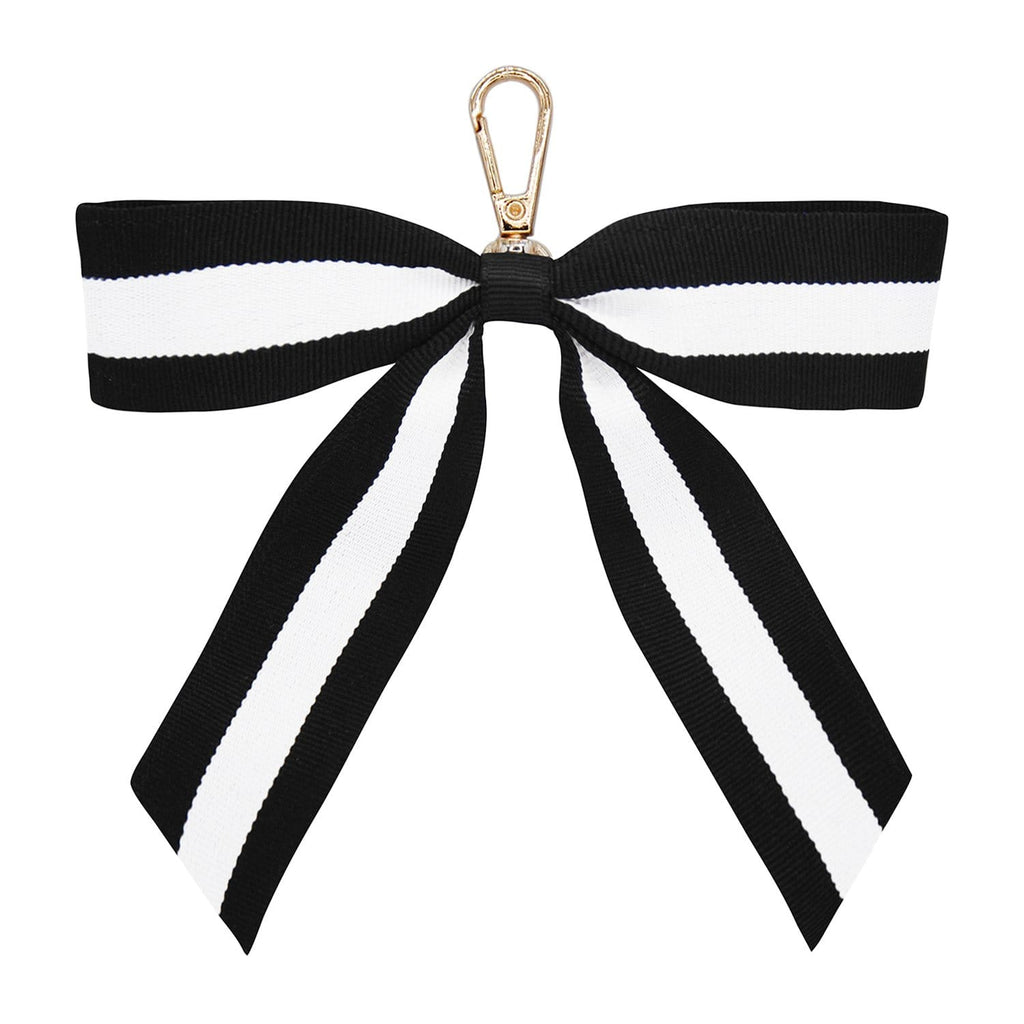 BLACK-STRIPE-KEYRING-PERSONALISE-RIBBON-BOW-CASSIE-JOHNNY-LOVES-ROSIE