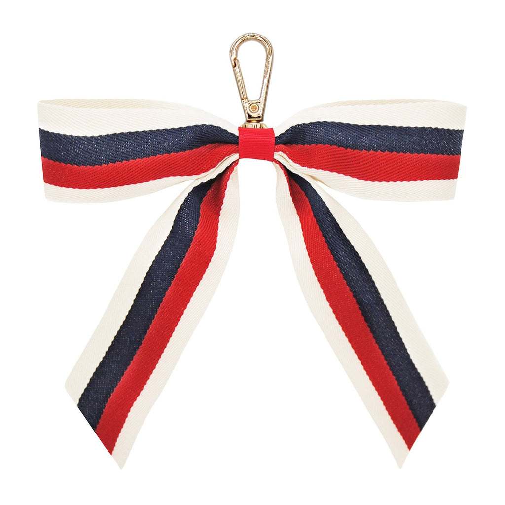 NAVY-RED-ECRU-STRIPE-KEYRING-PERSONALISE-RIBBON-BOW-CASSIE-JOHNNY-LOVES-ROSIE