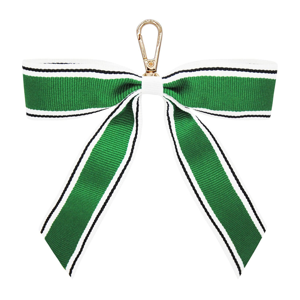 GREEN-STRIPE-KEYRING-PERSONALISE-RIBBON-BOW-CASSIE-JOHNNY-LOVES-ROSIE