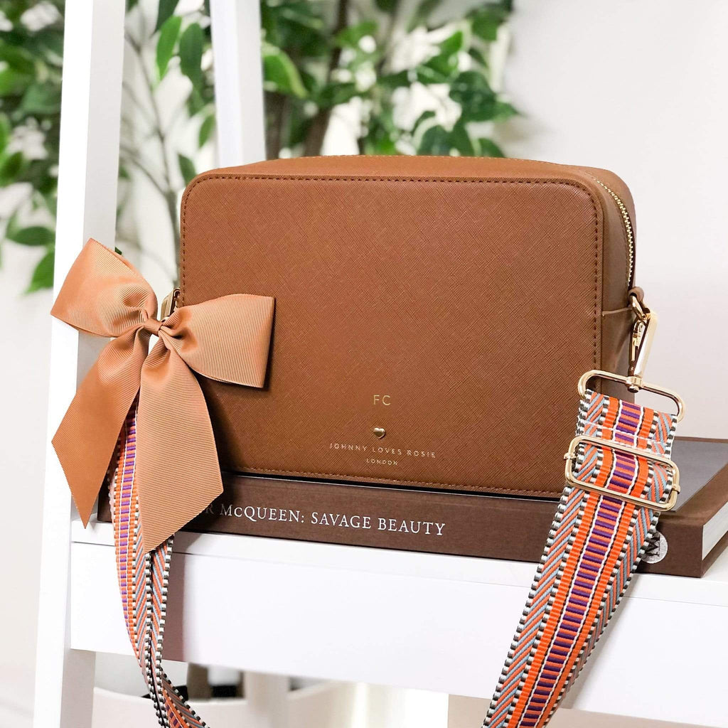 TAN-CROSSBODY-BAG-SET-VEGAN-LEATHER-PERSONALISE-BEATRICE-BOW-STRAP-KEYRING-JOHNNY-LOVES-ROSIE