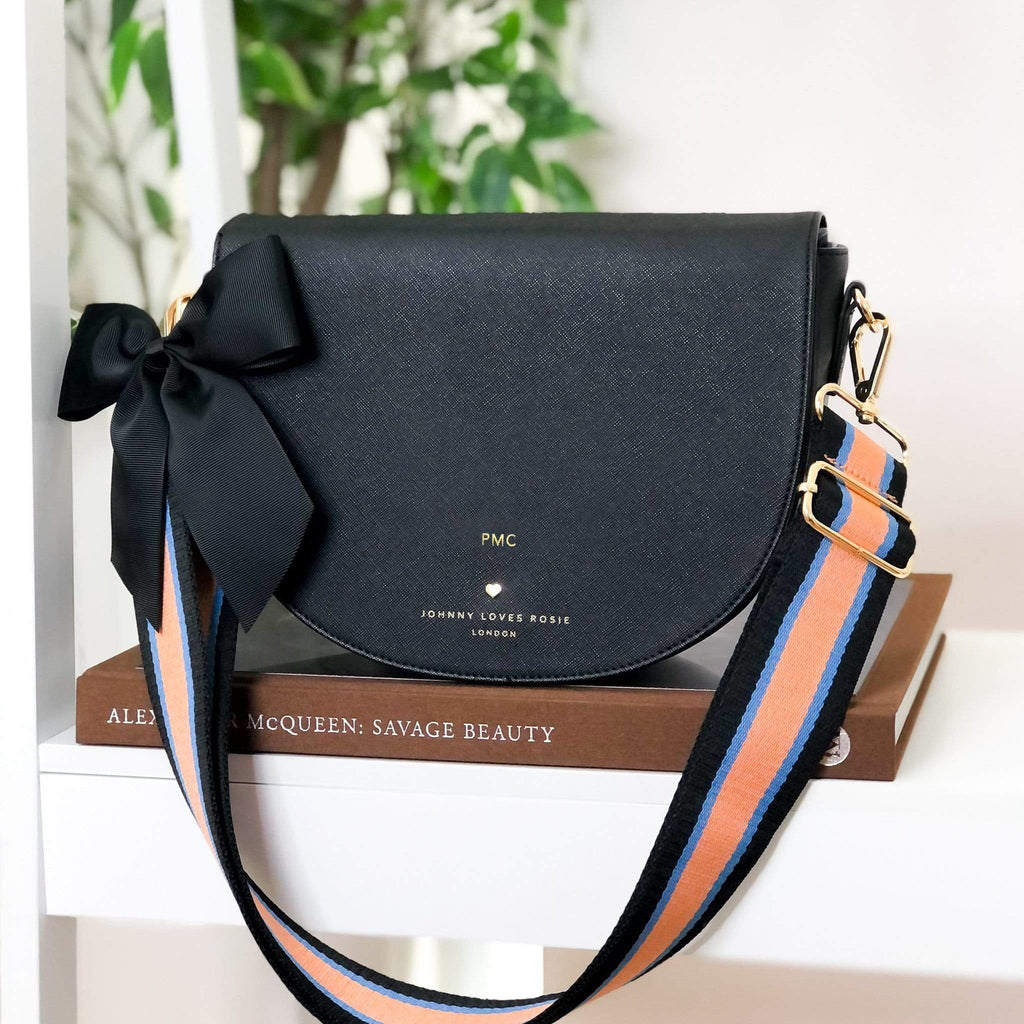 BLACK-SADIE-SADDLE-BAG-CROSSBODY-PERSONALISE-STRAP-BOW-SET-JOHNNY-LOVES-ROSIE