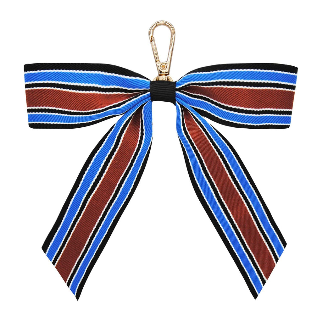 NAVY-BROWN-STRIPE-KEYRING-PERSONALISE-RIBBON-BOW-CASSIE-JOHNNY-LOVES-ROSIE