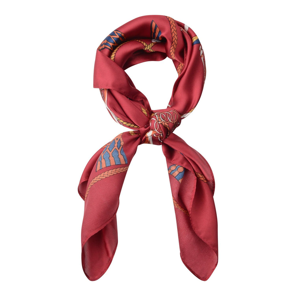 Ruby Red Chain Silk Hair Scarf