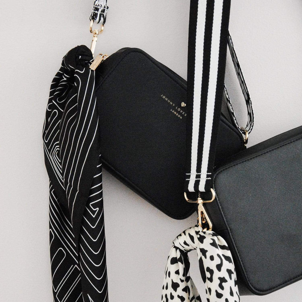 Black-deco-white-print-scarf-multiuse-handbag-johnny-loves-rosie