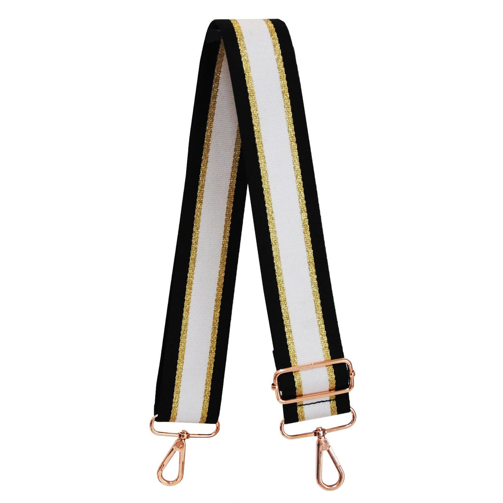 White Georgie Stripe Bag Strap