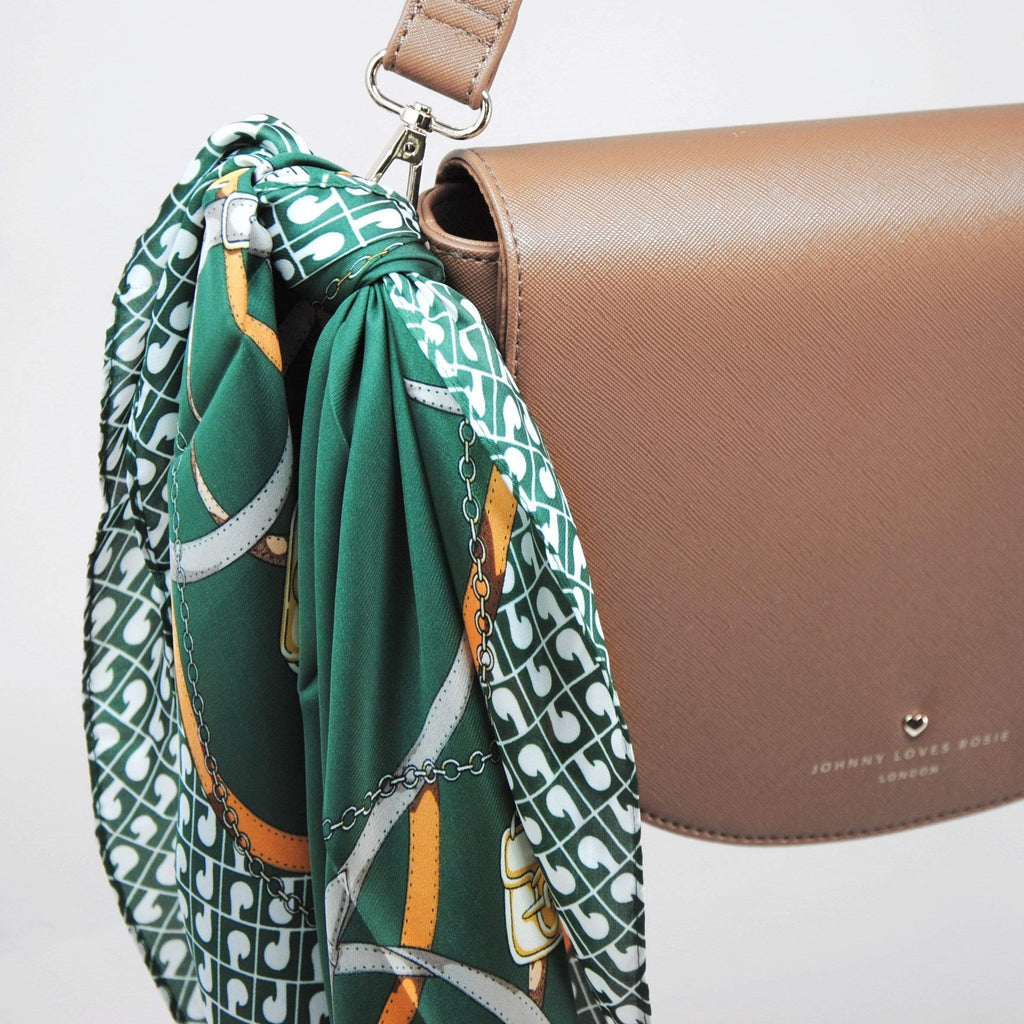 Emerald-chain-print-scarf-multiuse-handbag-johnny-loves-rosie