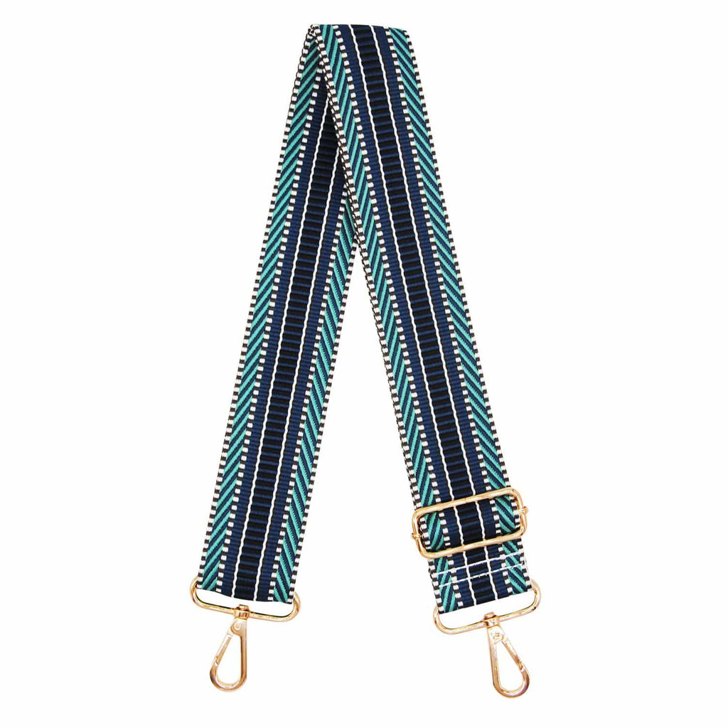 NAVY-BLUE-BROWN-STRIPE-BAG-STRAP-ADJUSTABLE-MULTI-CANVAS-WEB-JOHNNY-LOVES-ROSIE