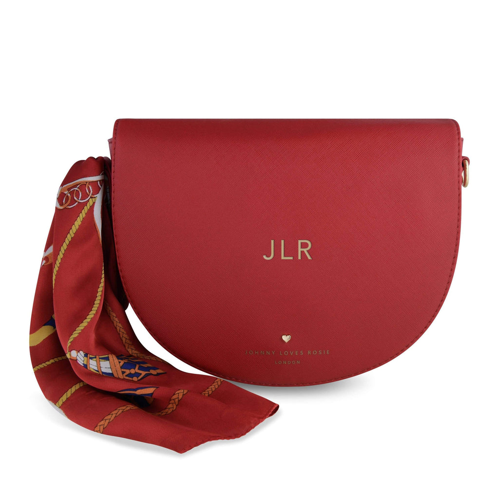 red-saddle-bag-tote-print-chain-scarf-saddie-johnny-loves-rosie-accessories
