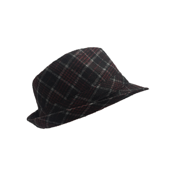 Checkered Black/Red Fedora Hat