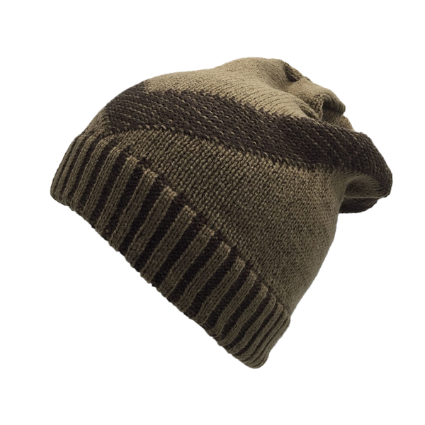 Brown and Beige Beanie Cap