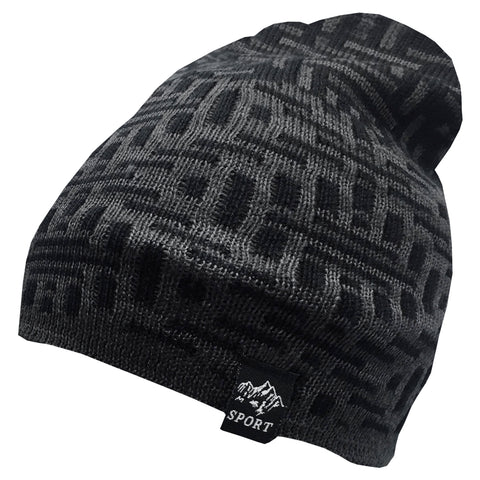 Black And Grey Abstract Beanie Cap