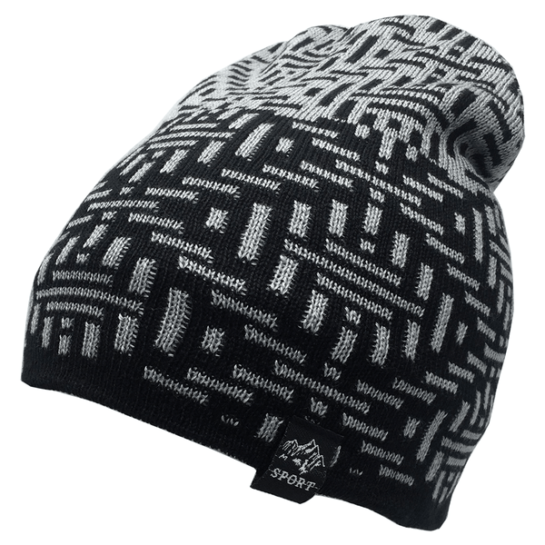 Light Grey And Black Abstract Beanie Cap