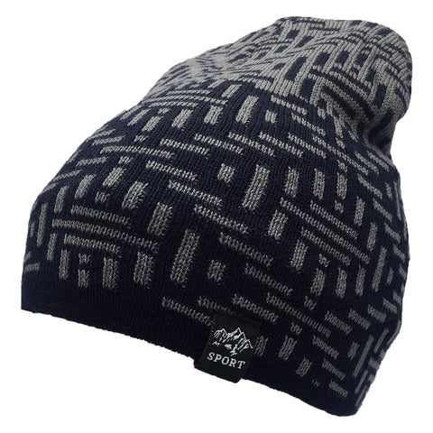 Blue And Light Grey Abstract Beanie Cap