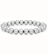 Stretchy bracelet with silver tone beads