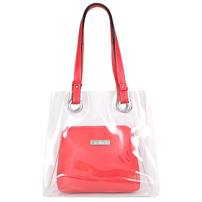 Transparent Shopper Bag with Scarlet Red Handles