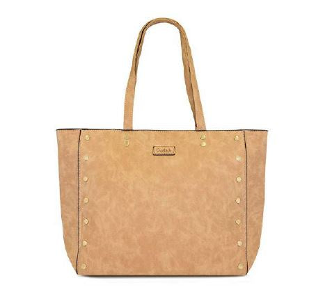 Tan tote with stud detailing on front