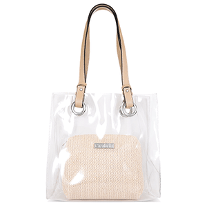 Transparent Shopper Bag with Beige Handles