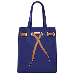 Navy Tote Handbag with Tan Tie Front