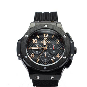 Black Chronograph Watch with Gold Hands and Numbers