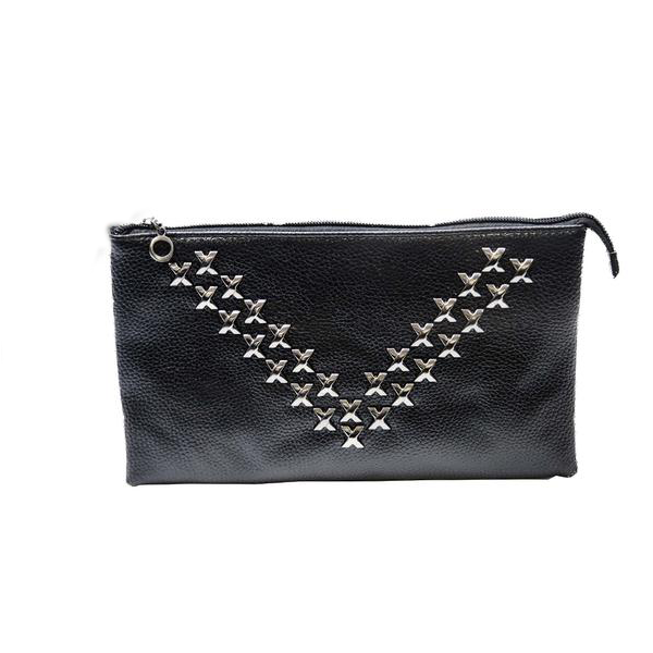 Black Clutch Handbag with Studs