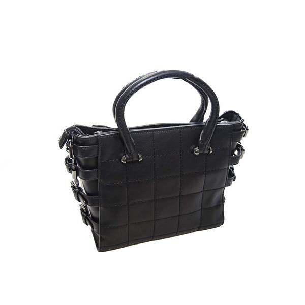Black Handbag with Checked Stitching and Side Buckles